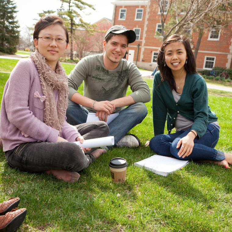 Three Students in Quad Square
