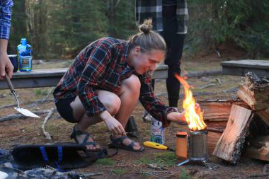 olivia works with a stove on trip